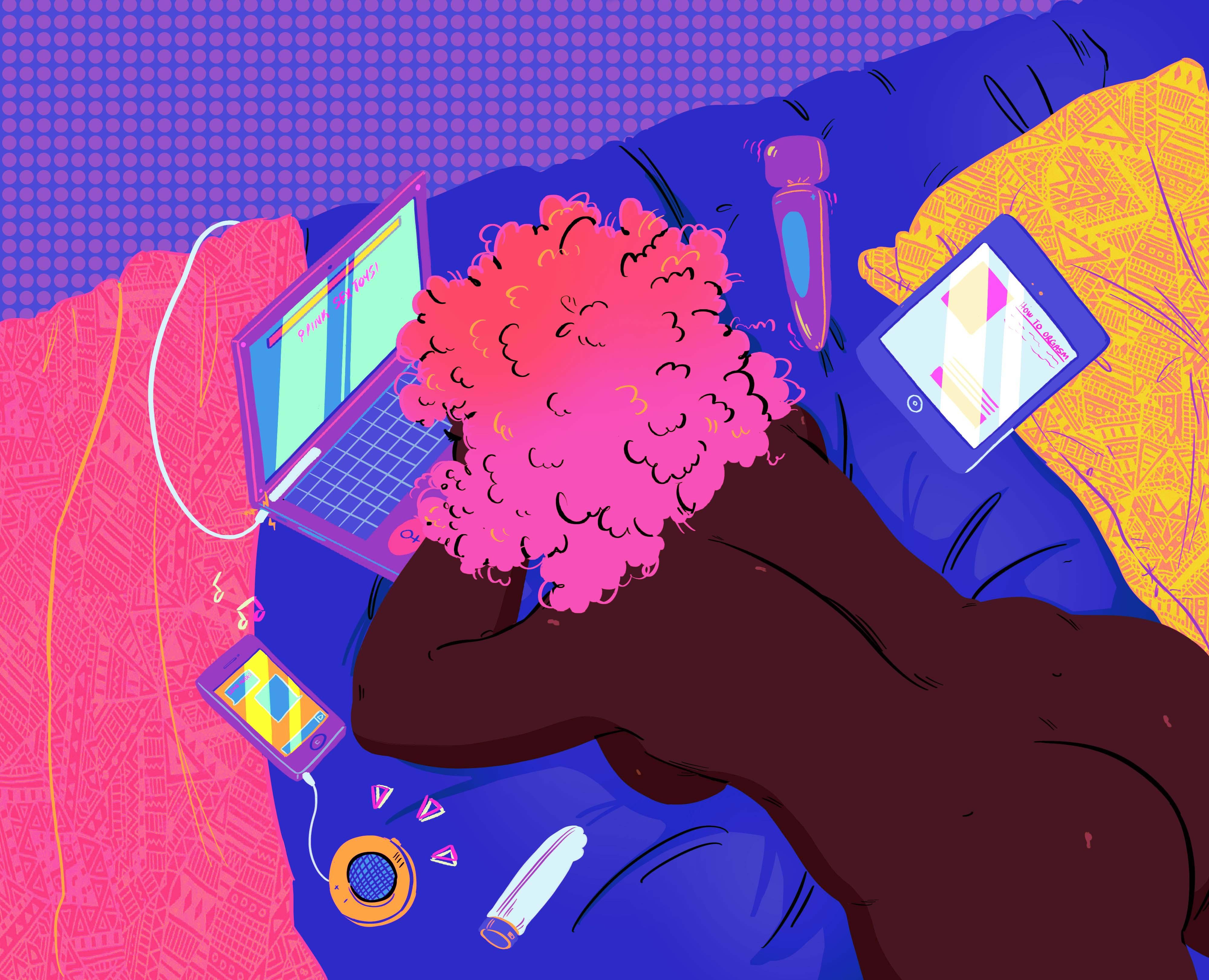 #CumSafelyOnline, Umaimah Damakka, Jeannine Felmore, Sex positive, illustration, sex tape, send nudes, HOLAAfrica. HOLAA
